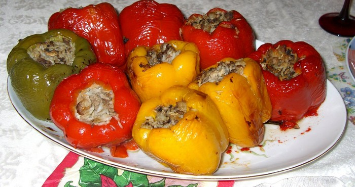 Фаршированный перец овощами и рисом рецепт с пошагово