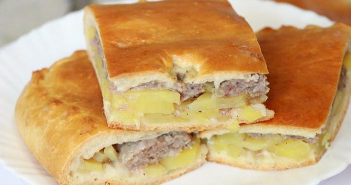 Слоеный пирог с фаршем и картошкой в духовке рецепт пошаговый