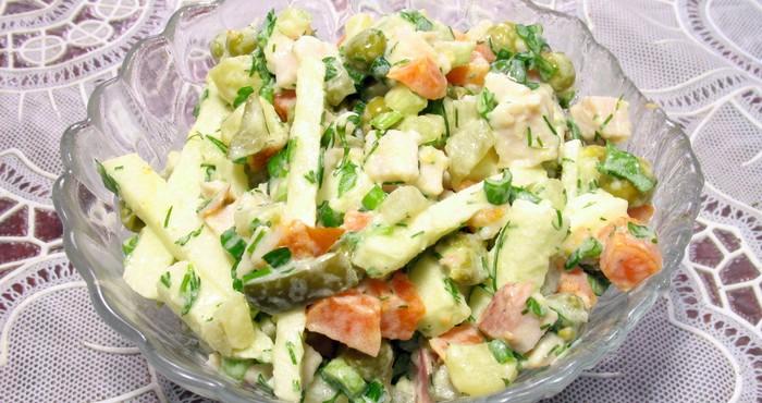 Салат с копченой куриной грудкой и горошком