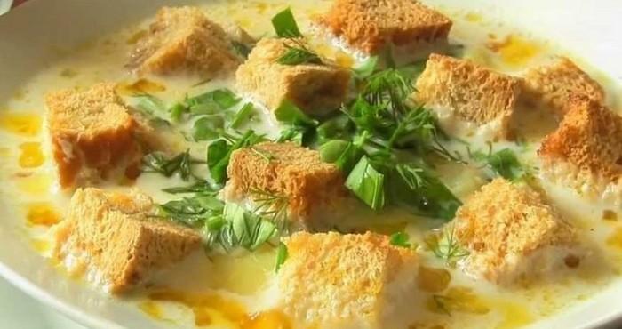 рецепт сырного супа с гренками фото пошагово