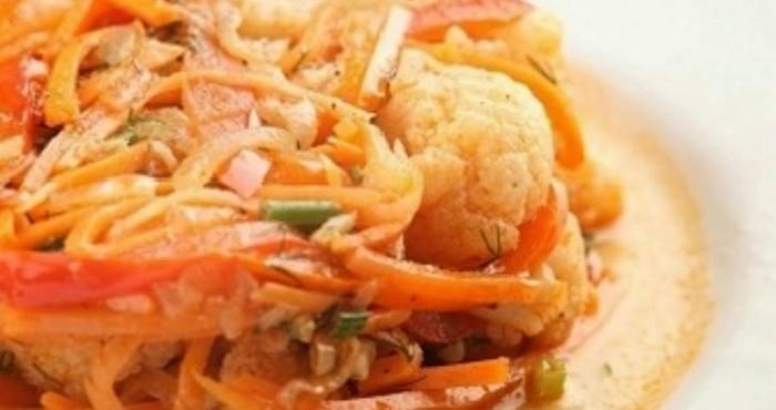 Быстрая цветная капуста по-корейски с соевым соусом