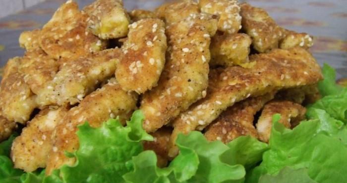 Филе курицы в кляре «Соломка» с кунжутом