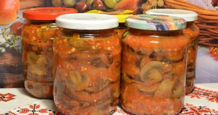 грибная закуска с овощами на зиму