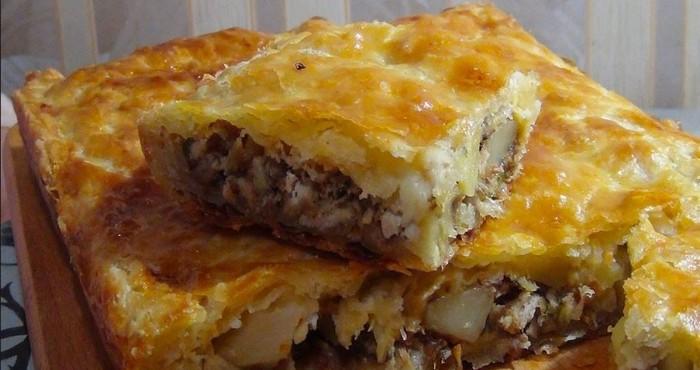 слоеный куриный пирог с картошкой