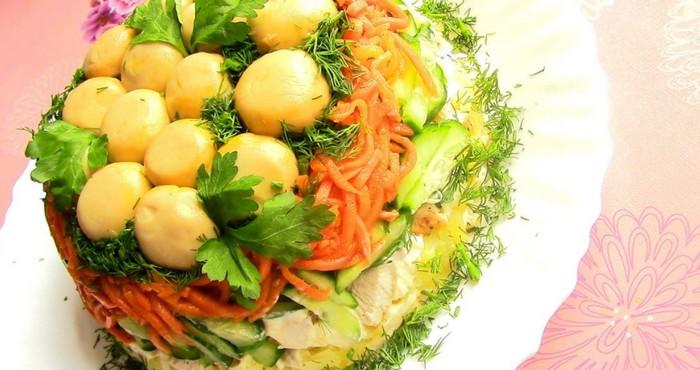 слоеная закуска с корейской морковью