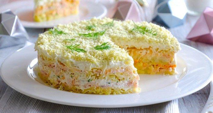 Рецепты полезных салатов из консервированной горбуши