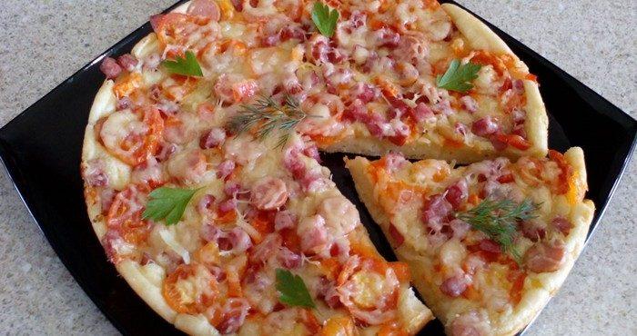 пицца на сковороде с грибами за 10 минут пошаговый рецепт