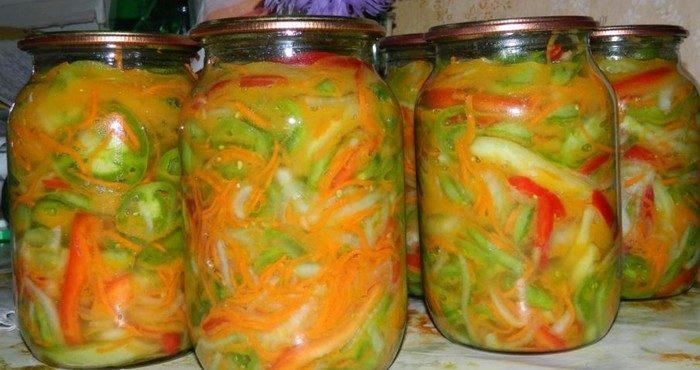 Салат из зеленых помидор на зиму — лучшие рецепты заготовок
