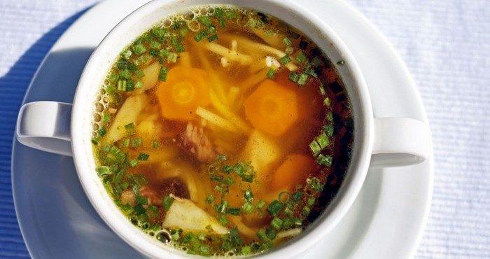 Как сварить сытный суп на говяжьем бульоне