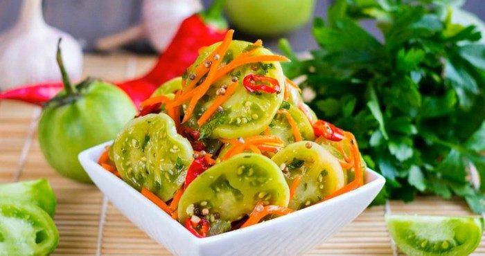 Как приготовить домашние зеленые помидоры по-корейски