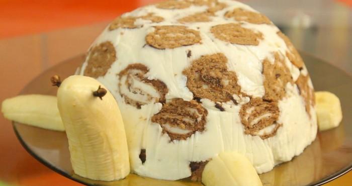 Торт черепаха с бананом