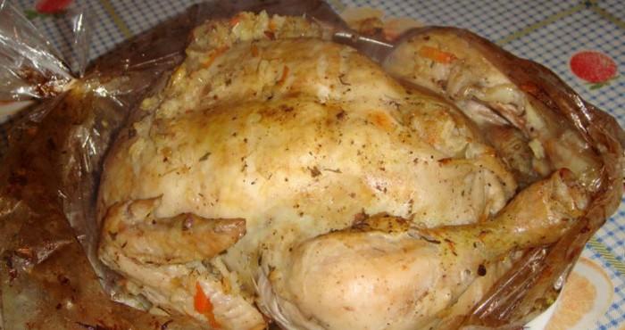 курица в рукаве в духовке рецепт с рисом