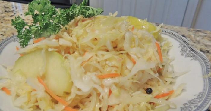Капуста квашеная быстрого приготовления: рецепт без добавления уксуса с яблоками