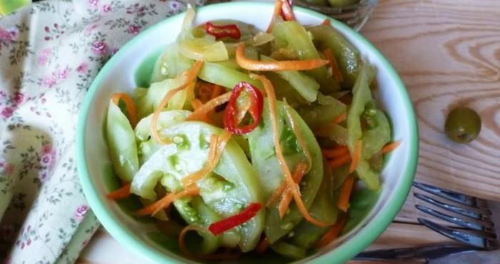 быстрый салат из зеленых помидоров