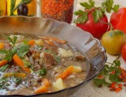 сытный суп с говядиной