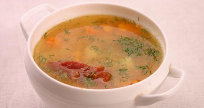 горохово-томатный постный суп