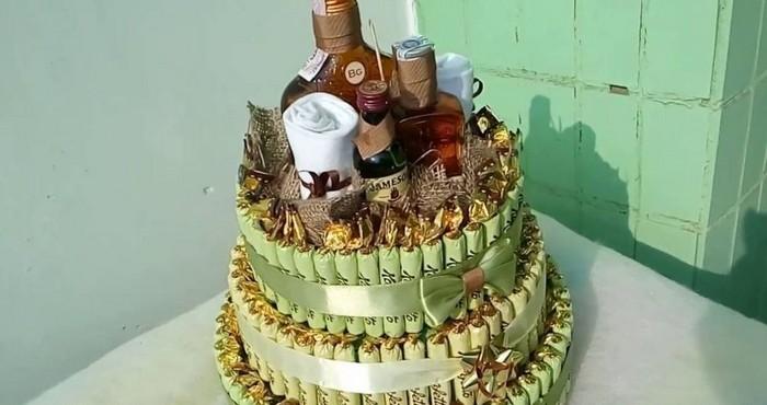конфетный торт с алкоголем
