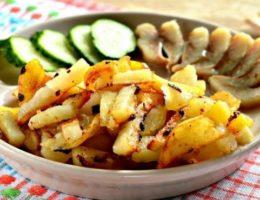 картофель с огурцом и селедкой