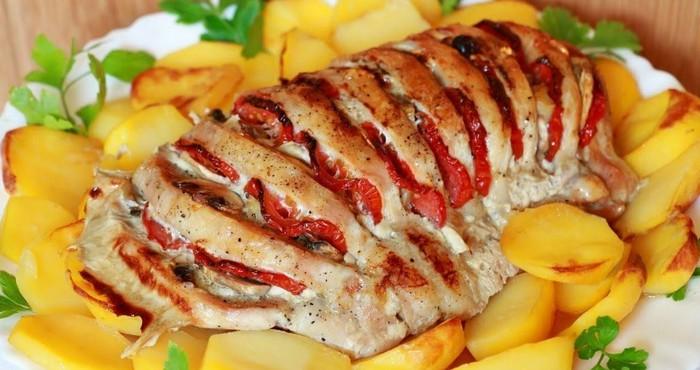 мясо с овощами в духовке с сыром